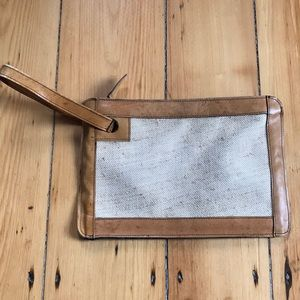 Vintage Wristlet/Clutch Leather and Burlap Zipper